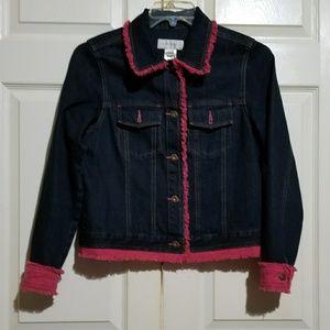 Susan Bristol | Denim Jacket Pink fringe S